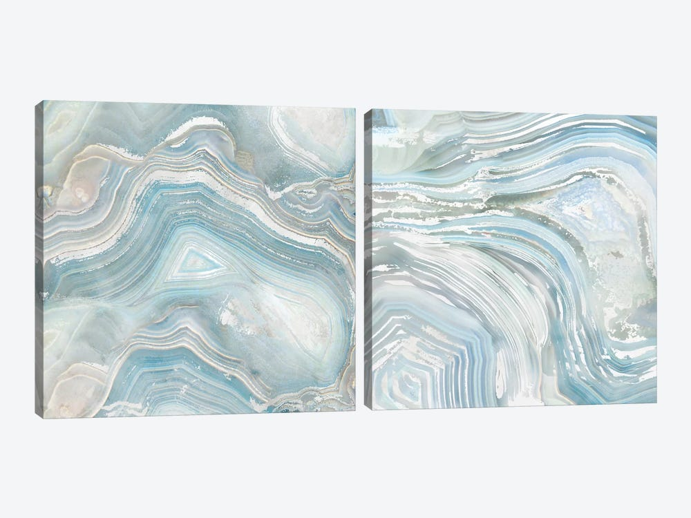Agate In Blue Diptych 2-piece Canvas Wall Art