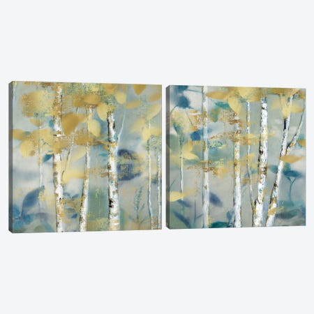 Gilded Forest Detail Diptych Canvas Print Set #NAN2HSET003} by Nan Canvas Art Print