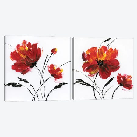 Red Poppy Splash Diptych Canvas Print Set #NAN2HSET007} by Nan Canvas Art
