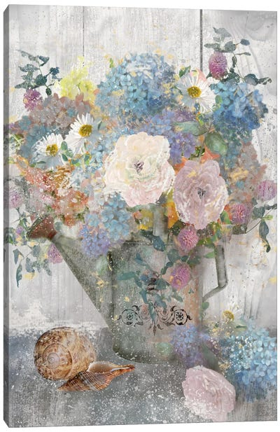 Bucket Of Flowers II Canvas Art Print