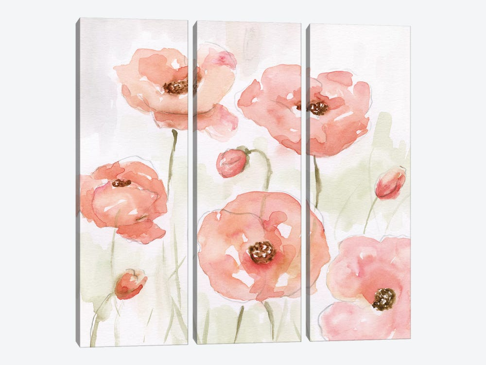 Spring Poppies I by Nan 3-piece Canvas Artwork