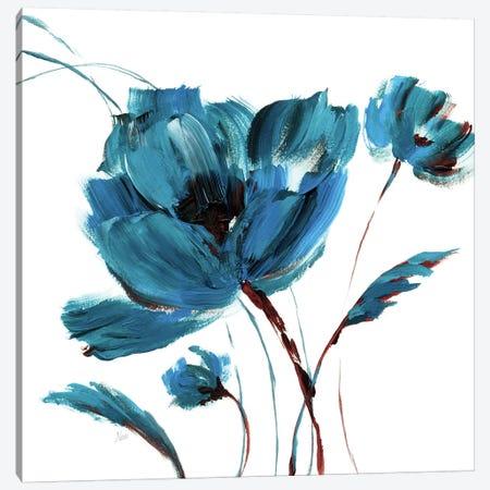 Blue Poppy Splash III 3-Piece Canvas #NAN375} by Nan Canvas Art Print