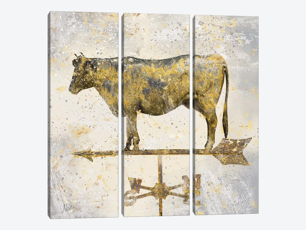 Americana Cow by Nan 3-piece Canvas Wall Art