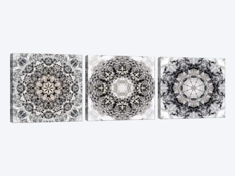 Black White Kaleidoscope Triptych by Nan 3-piece Canvas Art