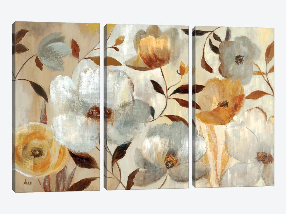 Golden Flower  by Nan 3-piece Canvas Artwork