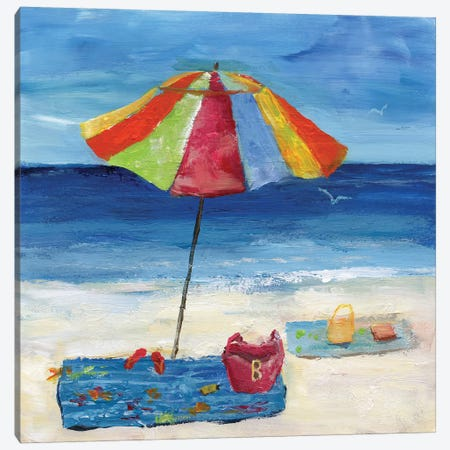 Bright Beach Umbrella I Canvas Print #NAN474} by Nan Canvas Artwork