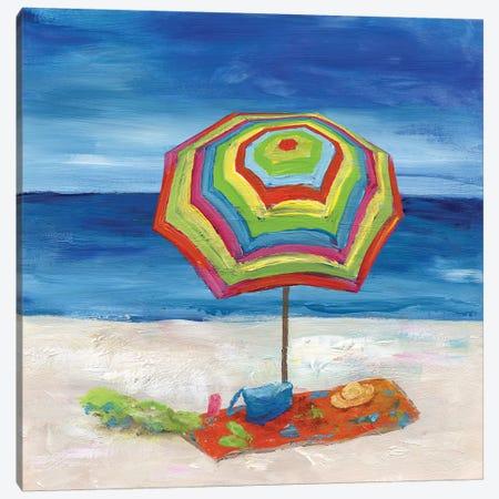 Bright Beach Umbrella II Canvas Print #NAN475} by Nan Canvas Art