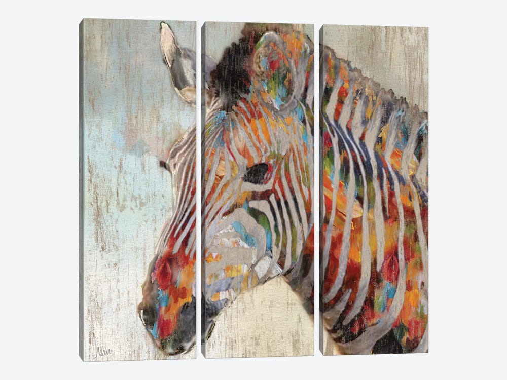 Paint Splash Zebra by Nan 3-piece Canvas Print