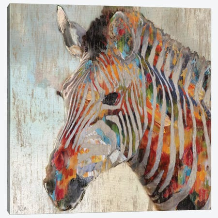 Paint Splash Zebra Canvas Print #NAN49} by Nan Canvas Art Print