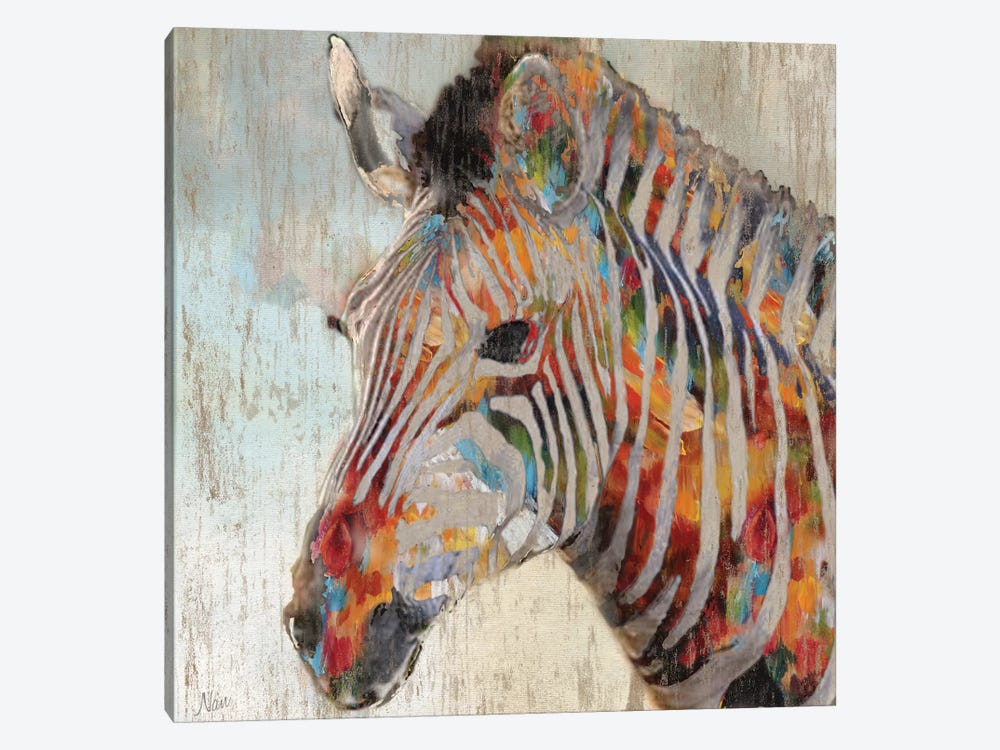 Paint splash zebra by nan 1 piece canvas art print