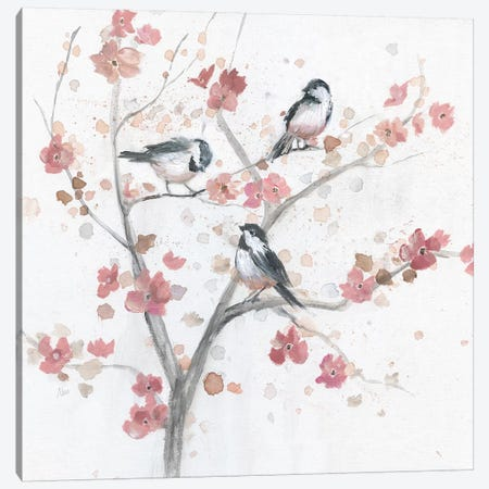 Chickadees in Spring I Canvas Print #NAN504} by Nan Canvas Artwork