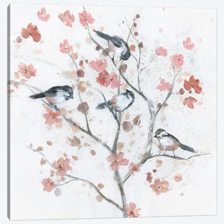 Chickadees in Spring II Canvas Print #NAN505} by Nan Canvas Wall Art