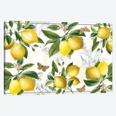 Linen Lemons Canvas Print #NAN543} by Nan Art Print