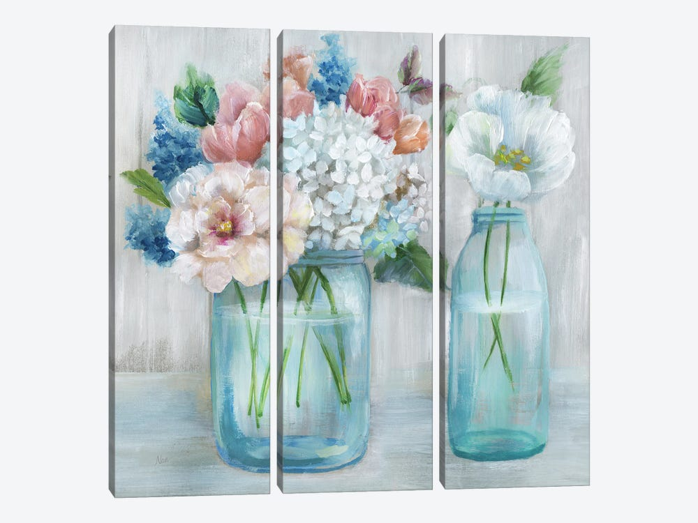 Country Bouquet by Nan 3-piece Canvas Wall Art