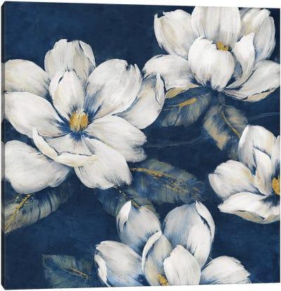 Magnolias Indigo Canvas Art Print