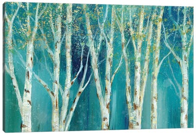 Birch On Blue Canvas Art Print