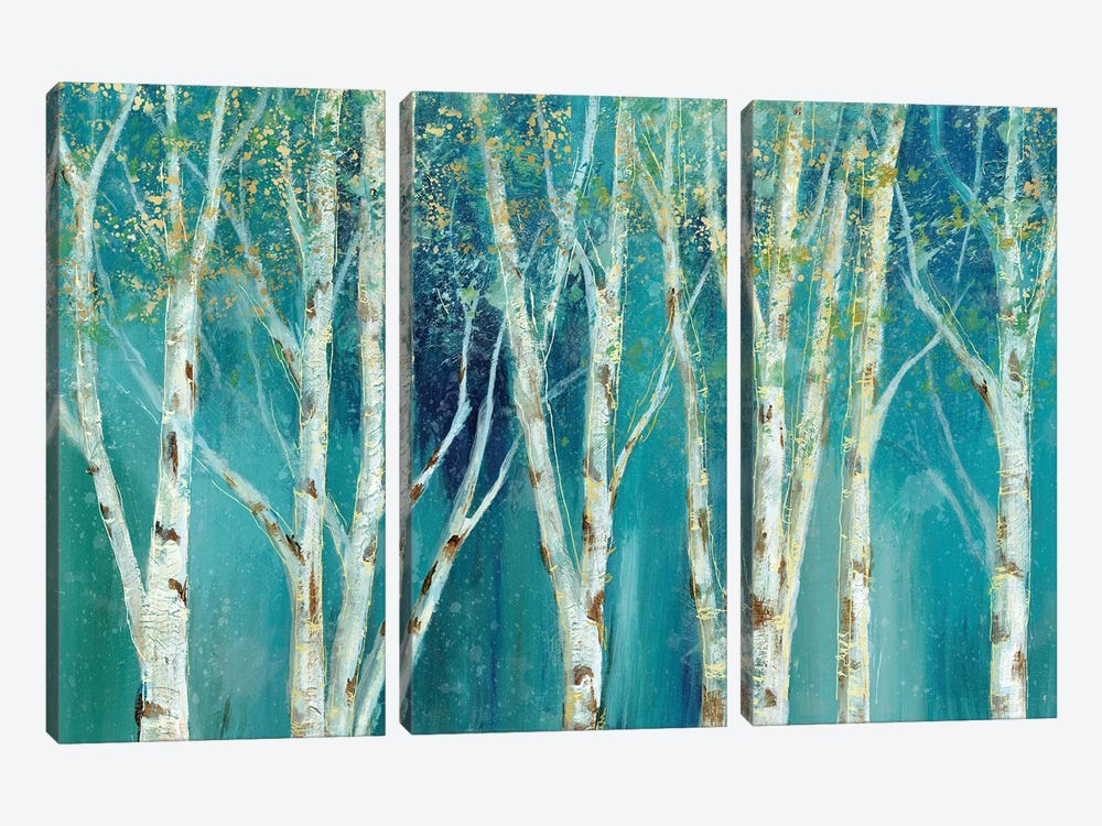 Birch On Blue by Nan 3-piece Canvas Art Print