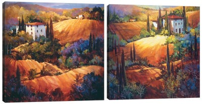 Evening Glow In Tuscany Diptych Canvas Art Print
