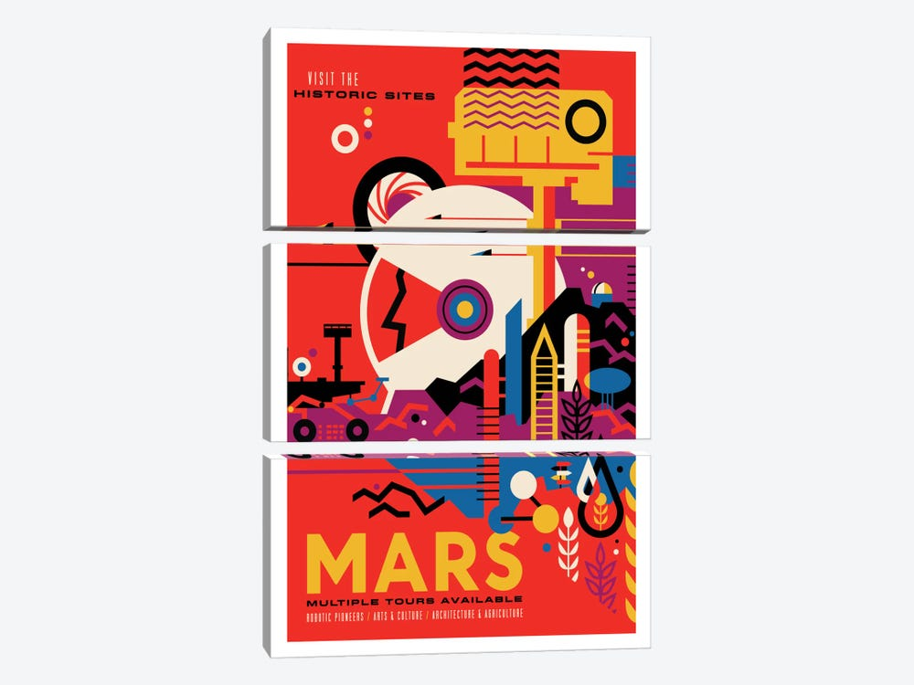 Mars by NASA 3-piece Canvas Art Print
