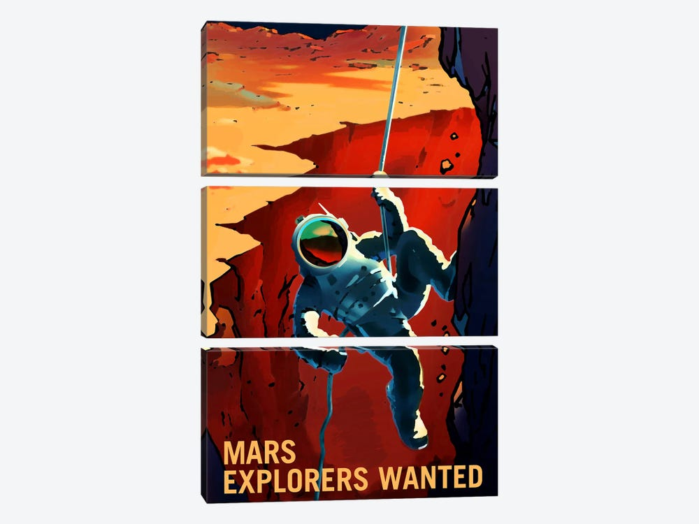 Explorers Wanted by NASA 3-piece Canvas Art