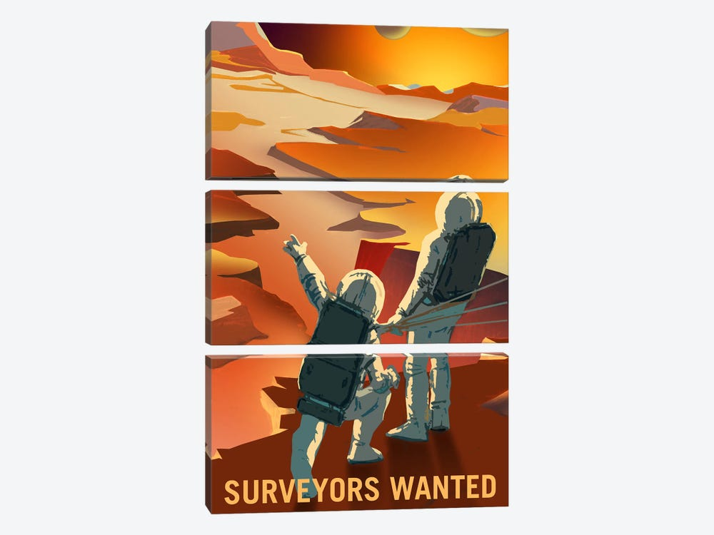 Surveyors Wanted by NASA 3-piece Canvas Print