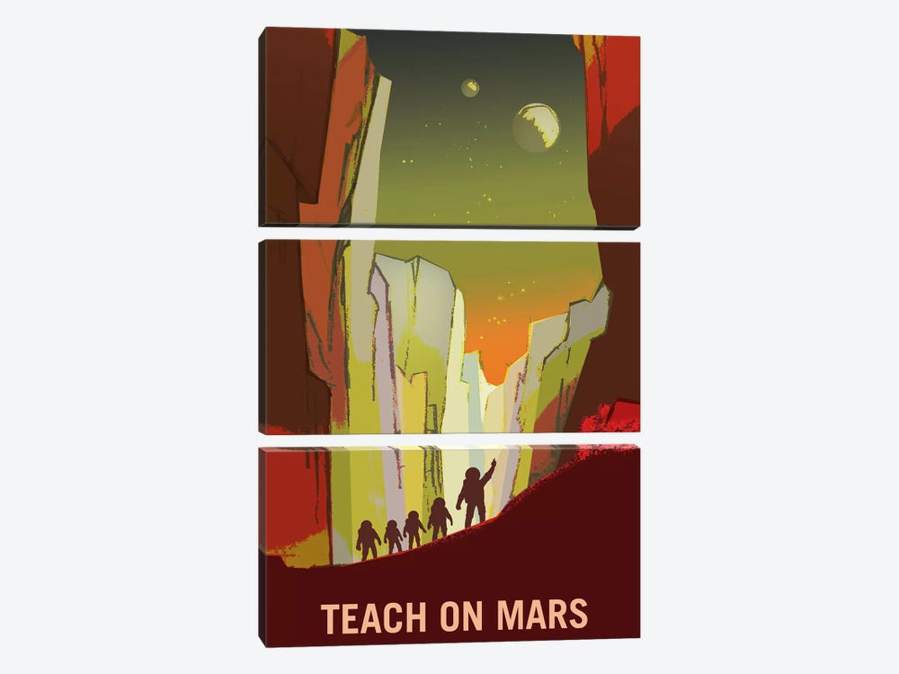 Teach On Mars by NASA 3-piece Canvas Wall Art