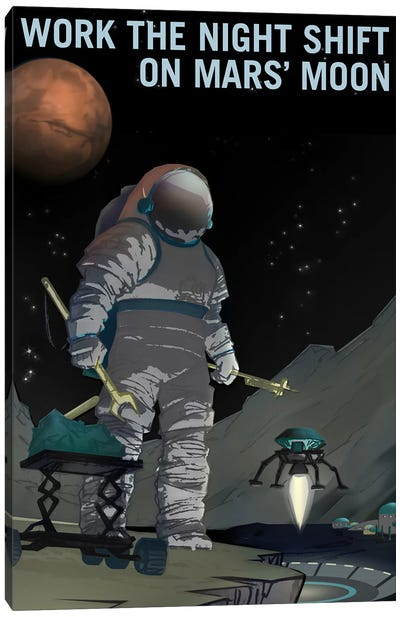 Mars Explorer Series: Work The Night Shift Canvas Art Print