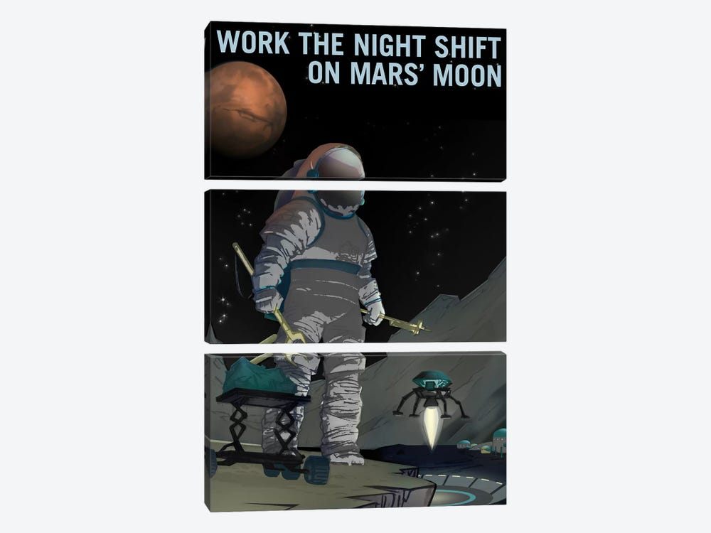 Work The Night Shift by NASA 3-piece Canvas Artwork