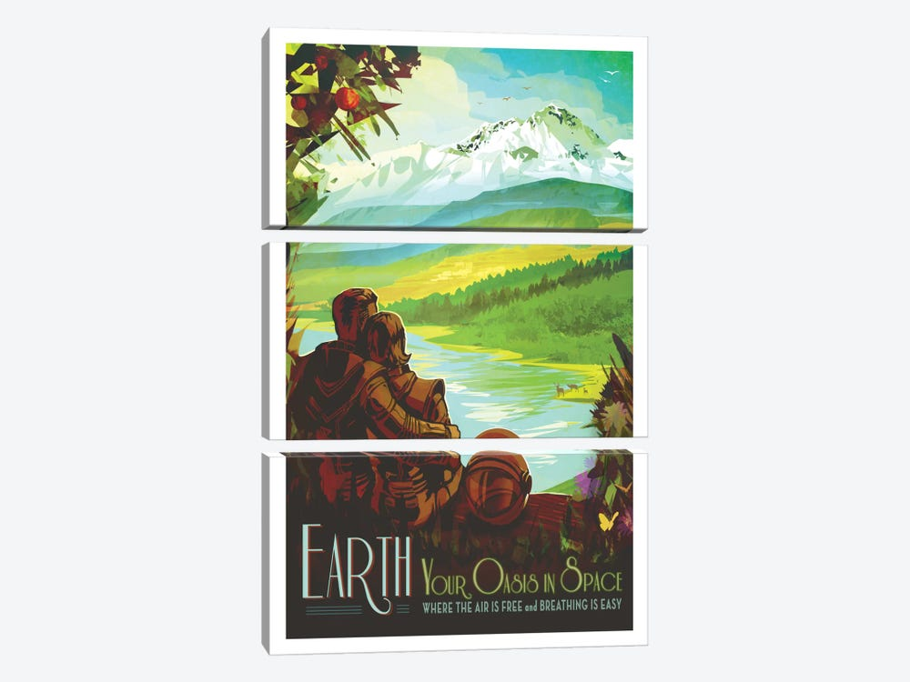 Visions Of The Future Series: Earth 3-piece Canvas Wall Art