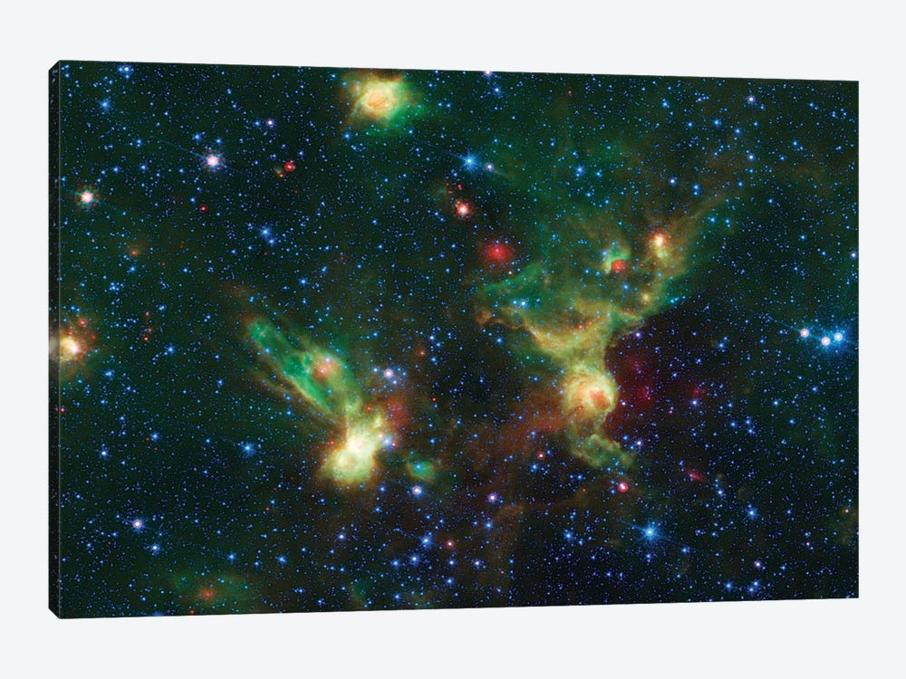 Enterprising Nebulae (IRAS 19340+2016 & IRAS19343+2026) by NASA 1-piece Canvas Wall Art
