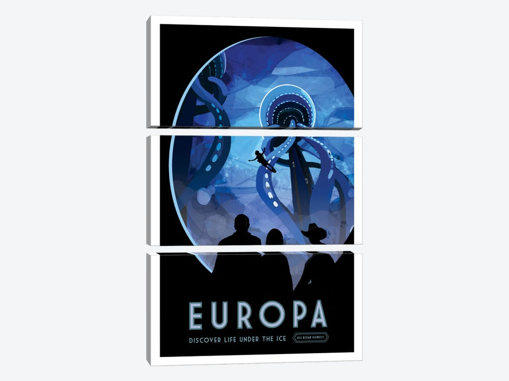 Visions Of The Future Series: Europa by NASA 3-piece Canvas Artwork
