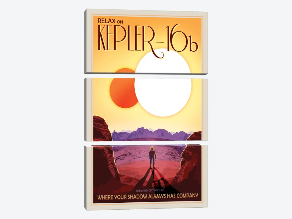 Kepler-16b by NASA 3-piece Canvas Artwork