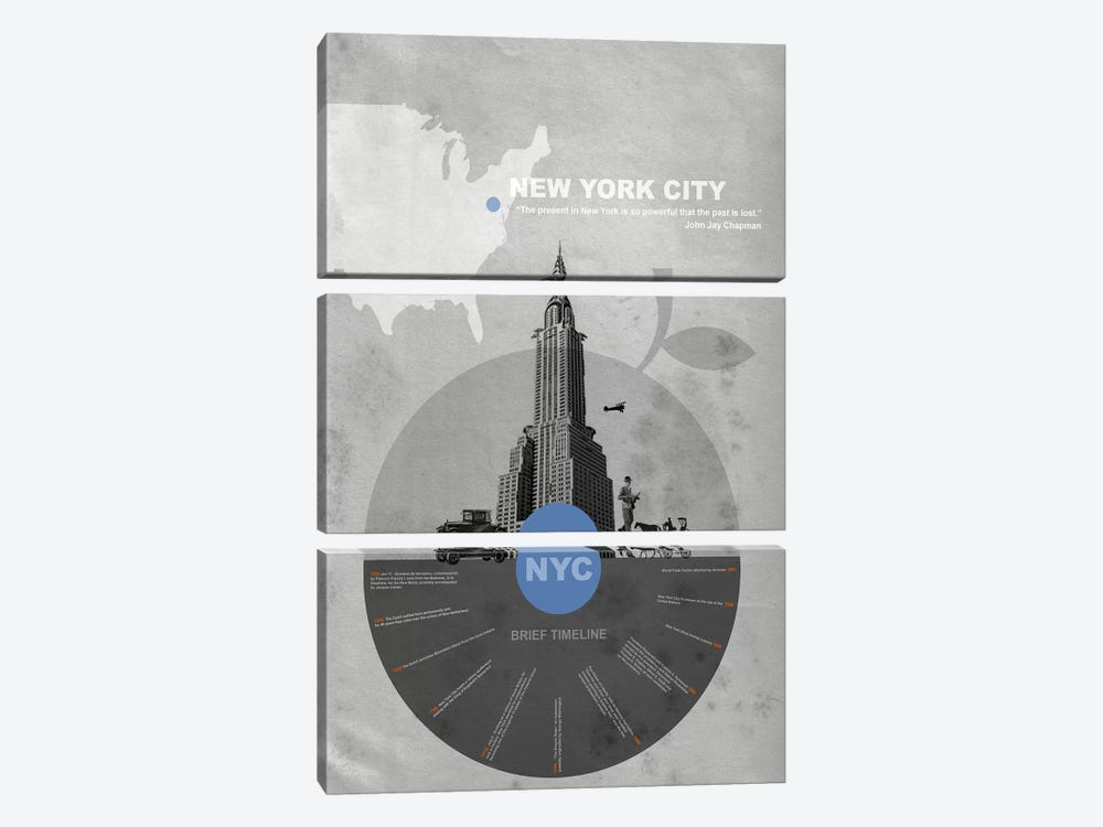 New York City, A Brief Timeline by Naxart 3-piece Canvas Art