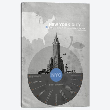 New York City, A Brief Timeline Canvas Print #NAX125} by Naxart Art Print