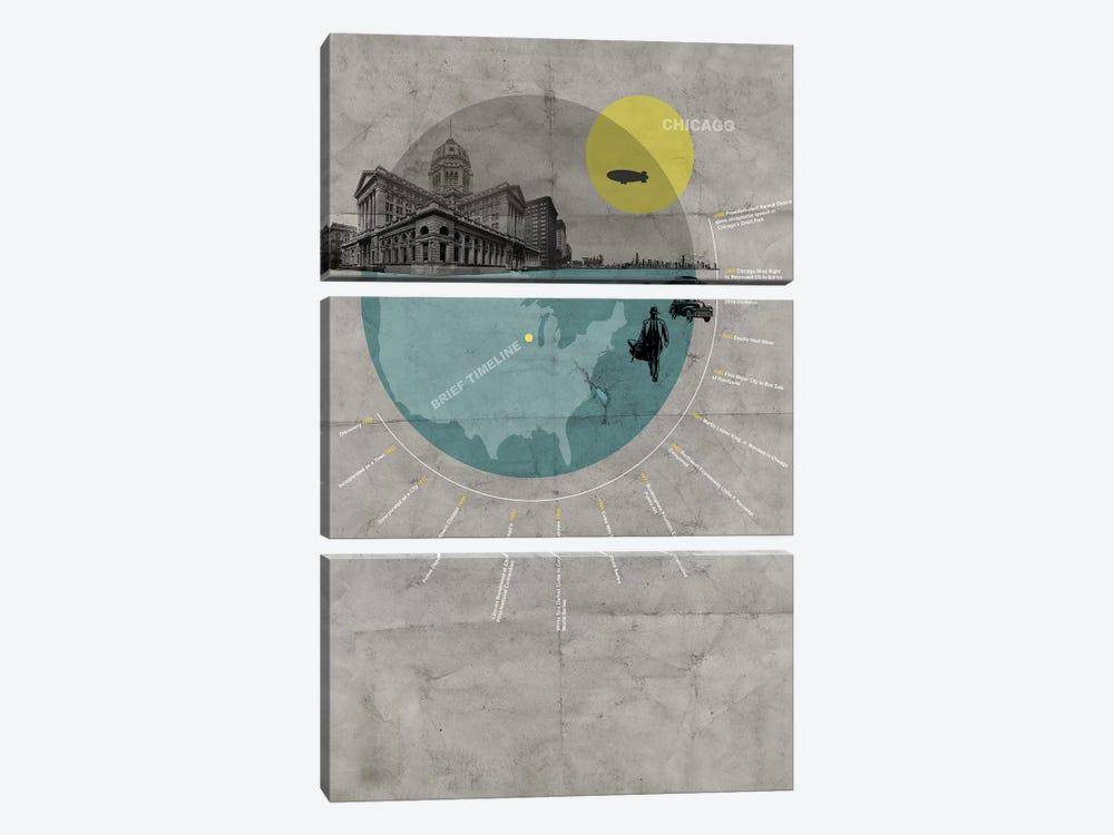Chicago, A Brief Timeline by Naxart 3-piece Canvas Artwork