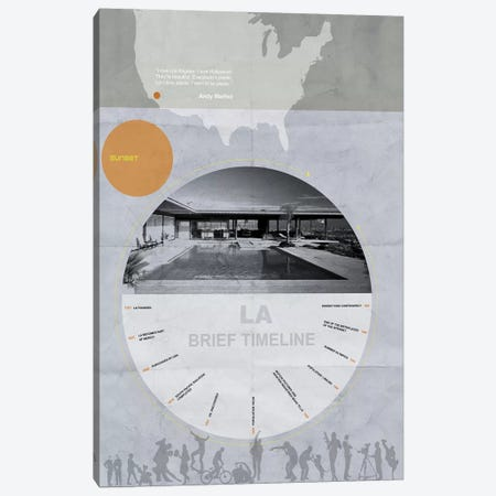 Los Anegles, A Brief Timeline Canvas Print #NAX128} by Naxart Canvas Art
