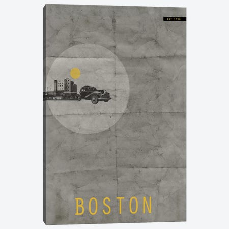 Boston, Est. 1734 Canvas Print #NAX129} by Naxart Canvas Wall Art