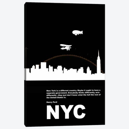 New York City Is A Different Country Canvas Print #NAX132} by Naxart Canvas Art Print