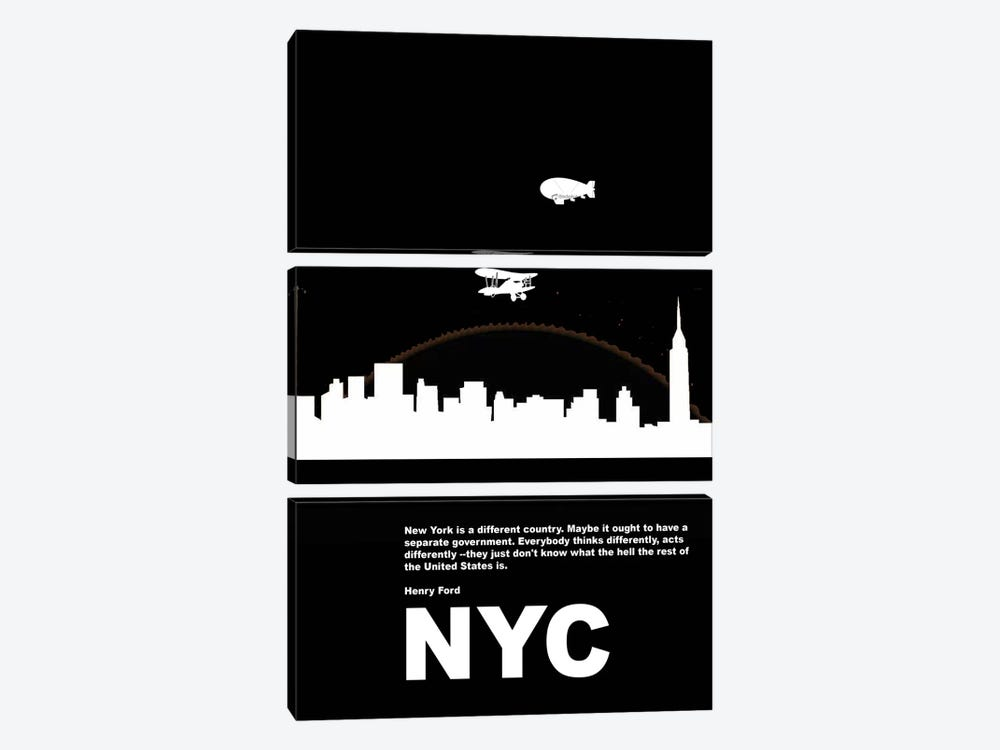 New York City Is A Different Country by Naxart 3-piece Canvas Artwork