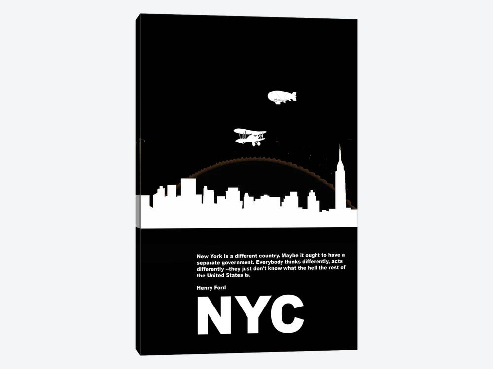 New York City Is A Different Country by Naxart 1-piece Canvas Artwork