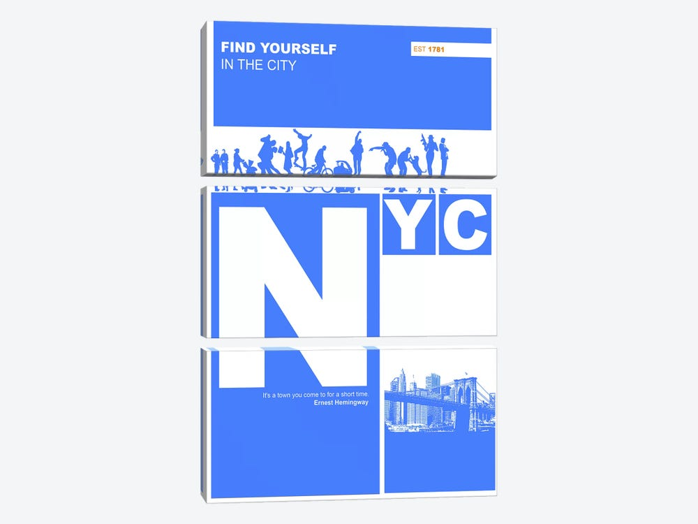 NYC: Find Yourself In The City by Naxart 3-piece Canvas Print