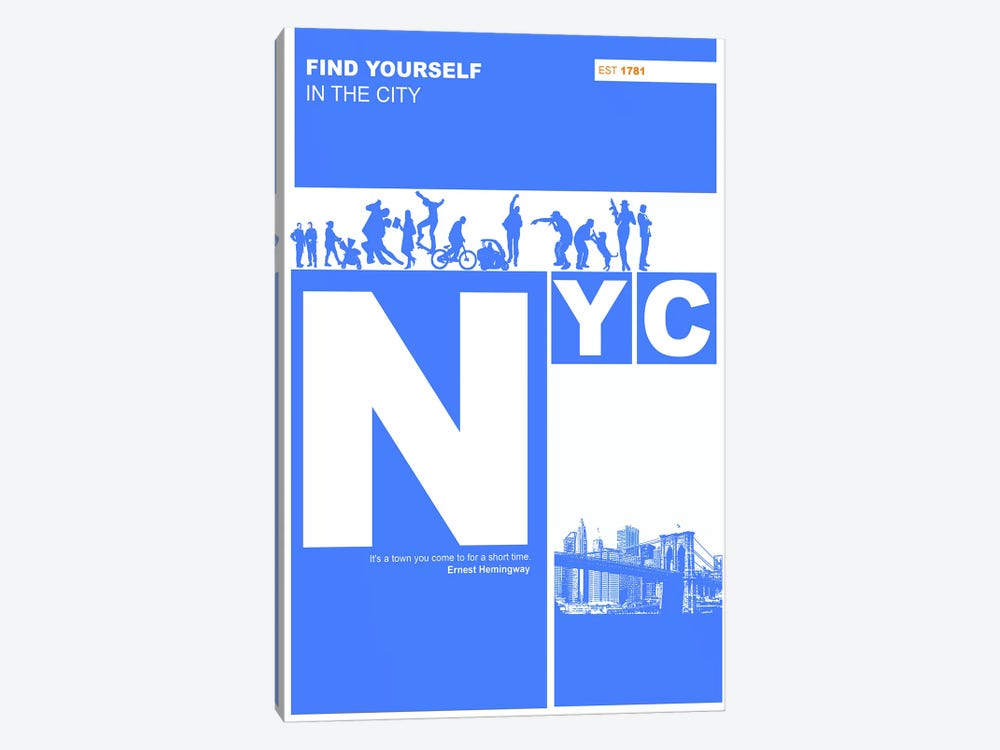 NYC: Find Yourself In The City by Naxart 1-piece Art Print