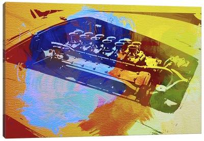 Ferrari Engine Watercolor Canvas Art Print