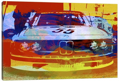 BMW Racing Watercolor Canvas Art Print
