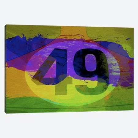 Number 49 Porsche Watercolor Canvas Print #NAX150} by Naxart Art Print