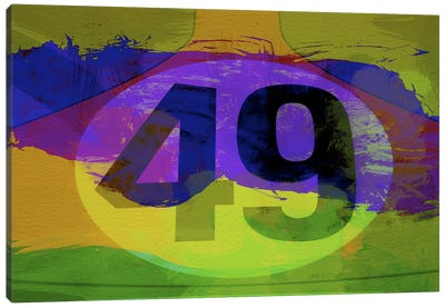 Number 49 Porsche Watercolor Canvas Art Print
