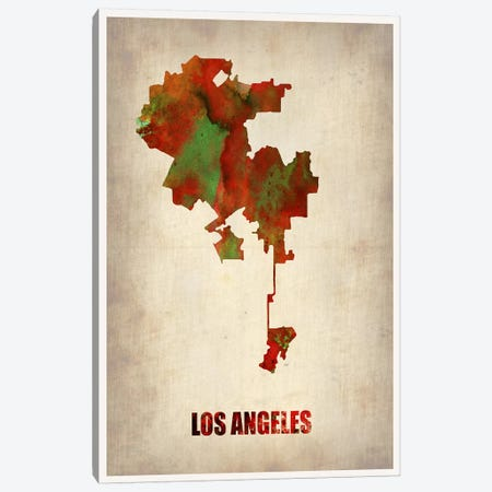 Los Angeles Watercolor Map Canvas Print #NAX242} by Naxart Canvas Art Print