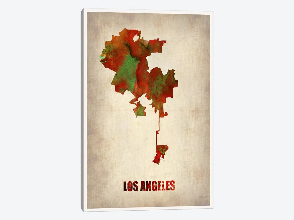 Los Angeles Watercolor Map by Naxart 1-piece Art Print