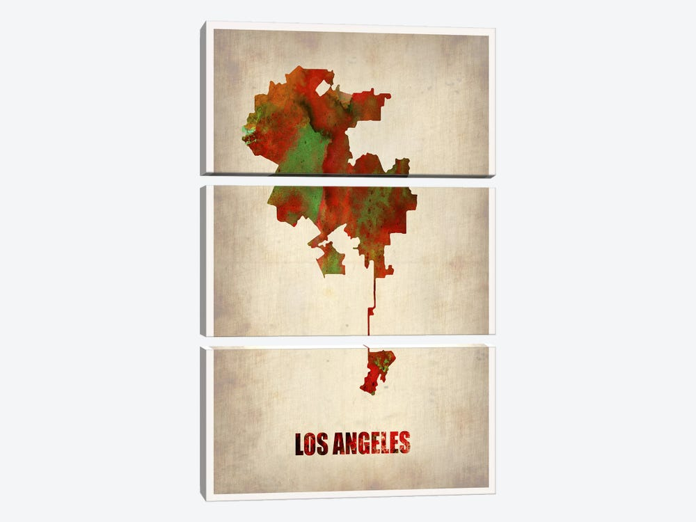 Los Angeles Watercolor Map by Naxart 3-piece Canvas Print