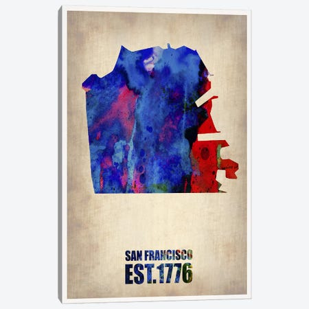 San Francisco Watercolor Map Canvas Print #NAX243} by Naxart Canvas Print